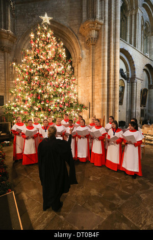 ELY CATHEDRAL GIRLS CHOIR REHEARSING  FOR THE CHRISTMAS CAROL SERVICE. - Stock Image