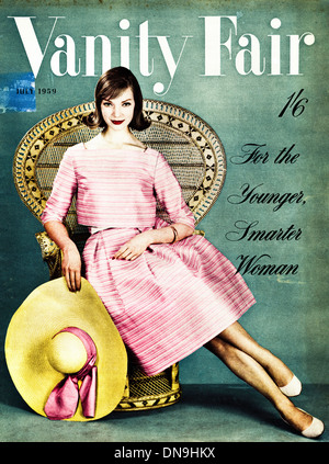 1950s VANITY FAIR cover vintage original women's fashion magazine dated July 1959 - Stock Image