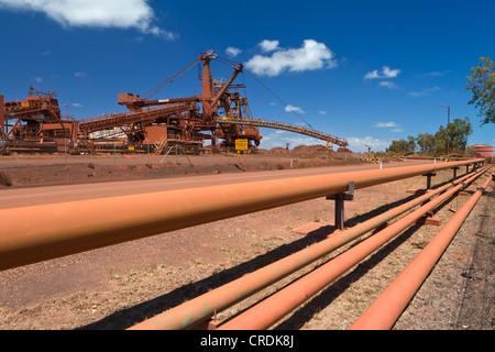 Old site of BHP Iron Ore, now known as BHP Billion, a British-Australian mining group, Port Hedland, Western Australia - Stock Image