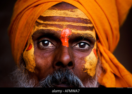 Sadhu holy man Varanasi India - Stock Image