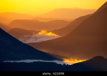 mist swirling, Abruzzo National Park Abruzzo Italy NR - Stock Image