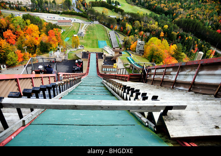 A view from the Olympic ski jump gate in Lake Placid, New York, USA. - Stock Image
