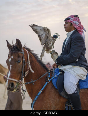 Hunter on horseback with his falcon, Qatar. - Stock Image