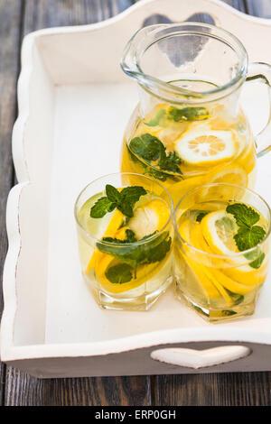 Lemonade in the jug - Stock Image