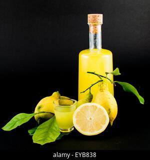 «Limoncello» est la liqueur traditionnelle distillée à partir de la pelure de citrons (appelée sfusato amalfitano) produite - Image