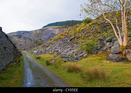 Wales, Snowdonia National Park, Penmachno, old abandoned slate quarry - Stock Image