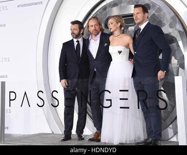 Westwood, California, USA. 14th Dec, 2016. Michael Sheen, Morten Tyldum, Jennifer Lawrence and Chris Pratt arrives - Stock Image