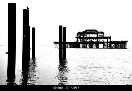 the old pier of Brighton in black and white - Stock Image
