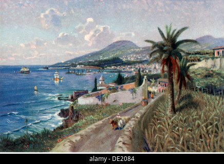 geography / travel, Portugal, Isle of Madeira, Funchal, view, art postcard, 1920s, Additional-Rights-Clearences-NA - Stock Image
