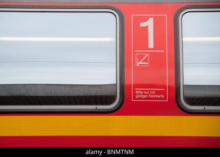 German Deutsche Bahn First Class rail carriage - Stock Image