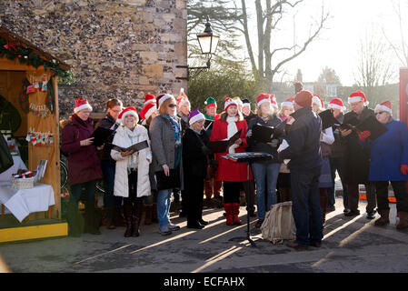 Carol singers performing in The Close Winchester Cathedral Hampshire UK  Singing Christmas carols - Stock Image