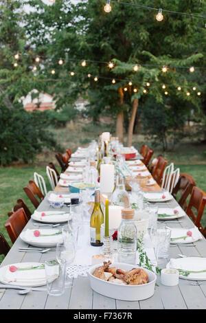Longue table dressée avec assiettes et verres, nourriture et boisson dans un jardin. - Image de l'éditeur