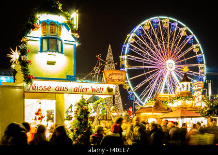Christmas Market with ferris wheel - Stock Image