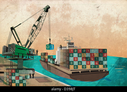 Shipping industry with loading binary code containers on ship representing the concept of software export - Stock Image
