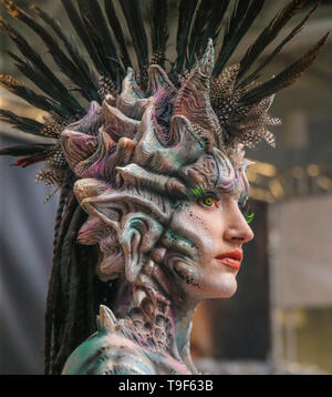 London 18 May 2019 IMATs London is back at London Olympia for another exhilarating show, with the world¡¯s leading Make-up Prosthetic and special effects artist direct from Hollywood.  The show highlights are the top body painters and their models ,making IMATs the show of colour. Paul Quezada-Neiman/Alamy Live News - Stock Image