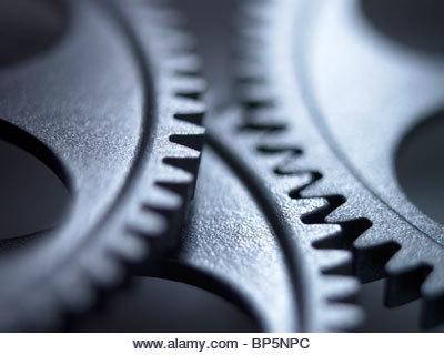 Close up of metal cogs - Stock Image