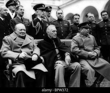 WINSTON CHURCHILL Franklin D. Roosevelt & JOSEPH STALIN THE BIG THREE 11 February 1945 LIVADA PALACE - Stock Image