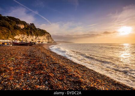 Une vue du littoral à Beer dans le Devon. - Image de l'éditeur