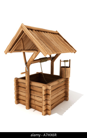 Wooden wishing well - Stock Image