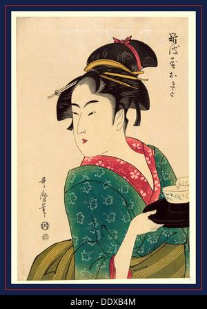 Naniwaya okita, Okita of Naniwa-ya. [1793, printed later], 1 print : woodcut, color., Print shows Naniwaya Okita - Stock Image
