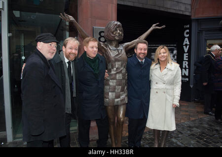 Liverpool, UK. 16th January 2017. Jack, Ben and Robert Willis, sons of the late star, Cilla Black, together with - Stock Image