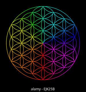 Fleur arc-en-ciel de la vie - symbole de la géométrie sacrée - Image