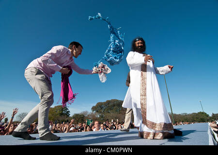 Sept. 9, 2012 - Buenos Aires, Argentina - Indian guru Sri Sri RAVI SHANKAR, leader of the NGO The Art of Living, - Stock Image