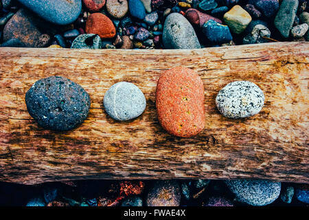 Colorful Stones on Driftwood - Stock Image