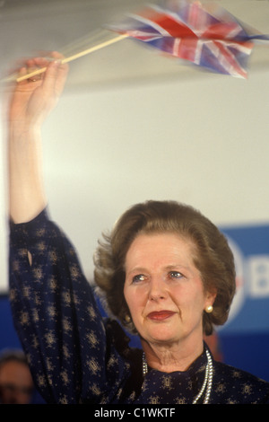 Mrs Margaret Thatcher 1983 election waving Union Jack flag with tears in her eyes. 1980s HOMER SYKES - Stock Image