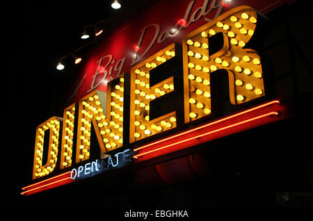 A jazzy sign of a traditional american diner in Manhattan, New York. - Stock Image
