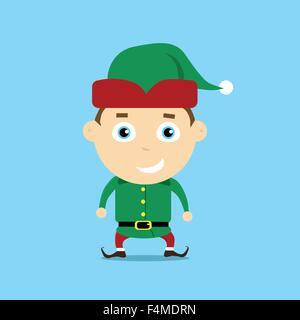Christmas Elf Cartoon Character Santa Helper - Stock Image