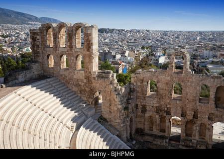 Irodium Theater on Acropolis in Athens. - Stock Image