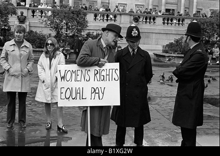 Women Rights for Equal Pay for Women, Rally, Trafalgar Square central London England 1968 1960s UK HOMER SYKES - Stock Image