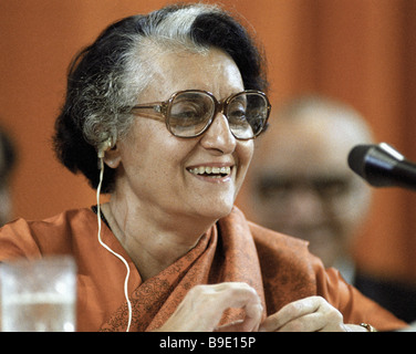 Indian Prime Minister Indira Gandhi giving an interview during her visit to the Soviet Union - Stock Image