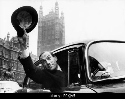 Jeremy Thorpe leaving the House of Commons after his election - Stock Image