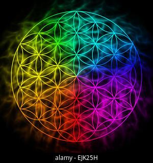 Fleur arc-en-ciel de la vie avec aura - symbole de la géométrie sacrée - Image
