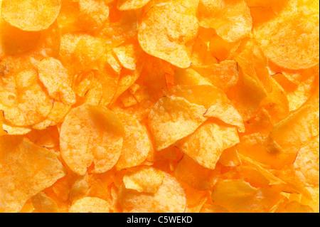 Potato chips, full frame, close-up - Stock Image