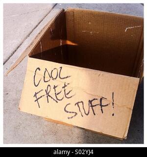 Box of cool free stuff - Stock Image