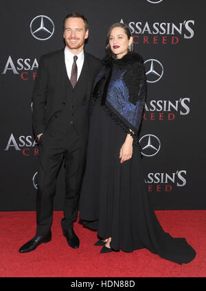 New York, USA. 13th December, 2016. Actress Marion Cotillard and Michael attends the 'Assassin's Creed' - Stock Image