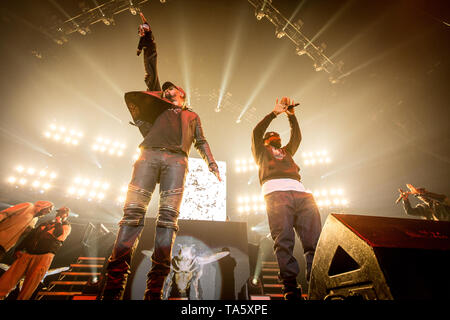 Copenhagen, Denmark. 21st May, 2019. Denmark, Copenhagen - May 21, 2019. The American rap group Wu-Tang Clan performs a live concert as part of the event Gods of Rap at Royal Arena in Copenhagen. Here rapper the RZA (L) is seen live on stage with Ghostface Killah (R). (Photo Credit: Gonzales Photo/Alamy Live News - Stock Image