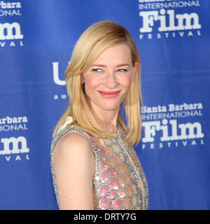 1st Feb, 2014  The Santa Barbara International Film Festival presents actress Cate Blanchett with the Outstanding Performer of the Year Award for her role in Woody Allen¡¯s latest movie Blue Jasmine. Dress by Maison Martin Margiela - Stock Image