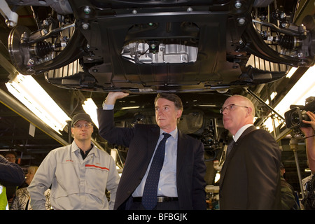 Lord Peter Mandelson on a visit to the Nissan car factory in Sunderland. - Stock Image