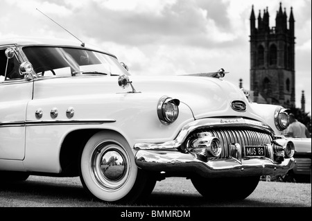 Buick eight front end, a classic American car, at Churchill vintage car show, Oxfordshire, England. Monochrome - Stock Image