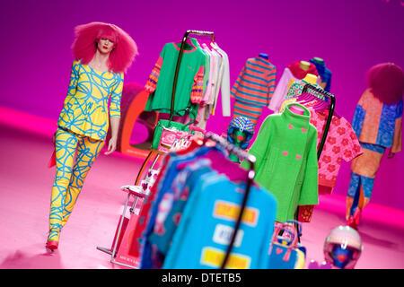 Madrid, Spain. 16th Feb, 2014. A model showcases designs by Agatha Ruiz de la Prada on the show during Mercedes Benz Fashion Week Madrid Fall/Winter 2014 at Ifema on February 16, 2014 in Madrid, Spain. Credit:  Oscar Gonzalez/NurPhoto/ZUMAPRESS.com/Alamy Live News - Stock Image