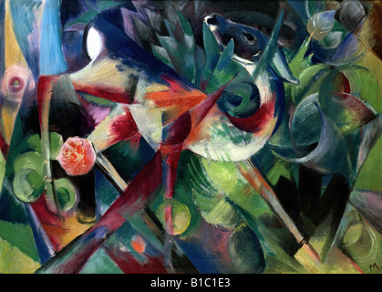fine arts, Marc, Franz, (1880 - 1916), painting, 'Reh im Blumengarten', ('a deer in the flower garden'), - Stock Image