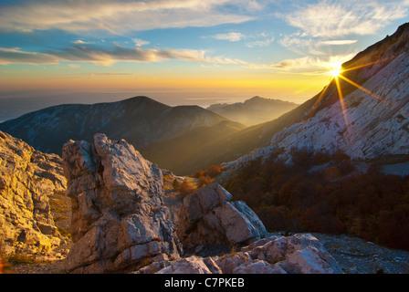 The most beautiful mountain in Croatia, mountain Velebit at fall. - Stock Image