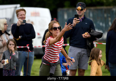 Dorset, UK. 05th May, 2019. Dorset Knob Throwing Festival, Kingston Maurward, Dorchester, Visitors try to see how far they can throw the knob. Credit: Finnbarr Webster/Alamy Live News - Stock Image