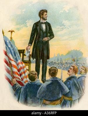 President Abraham Lincoln delivering the Gettysburg Address on the battlefield during the Civil War 1863. Color - Stock Image