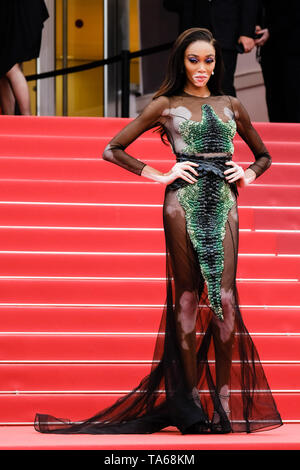 Cannes, France. 22nd May, 2019. Winnie Harlow poses at on the red carpet for Oh Mercy! on Wednesday 22 May 2019 at the 72nd Festival de Cannes, Palais des Festivals, Cannes. Pictured: Winnie Harlow. Picture by Credit: Julie Edwards/Alamy Live News - Stock Image