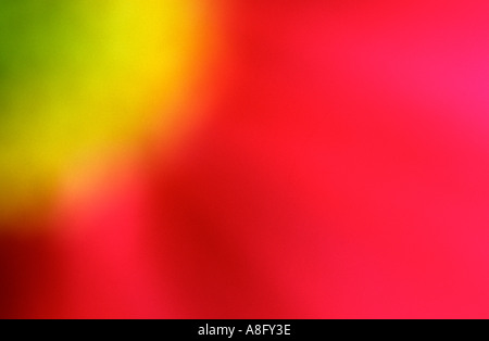 abstract circles of an out of focus  red yellow and green flower - Stock Image